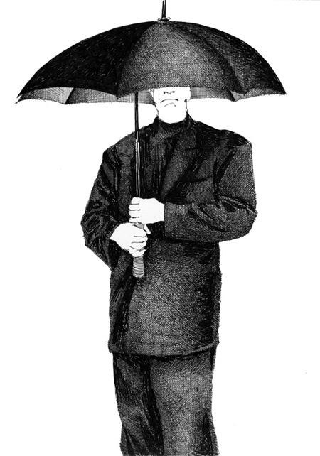 Человек под зонтиком история