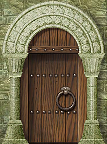 Wooden door set in a carved arched doorway in a rough stone wall. (Image size approx. 39 KB) & Cutout Models for Tabletop Gaming